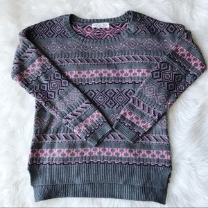 Pink Rose grey & pink crewneck knitted sweater